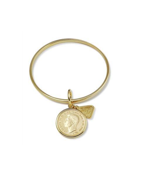 Gold Bangle w/ Shilling Coin