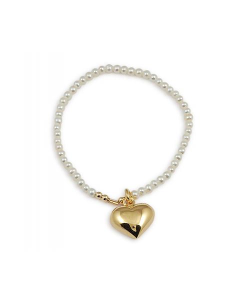 Pearl w/ Heart Bracelet