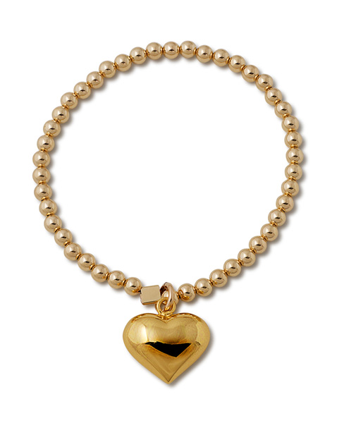 Gold Filled Heart and Ball Charm Stretchy Bracelet