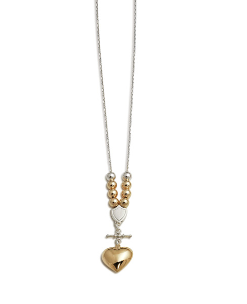 Gold Filled Ball Necklace w/ Large Puffy Heart