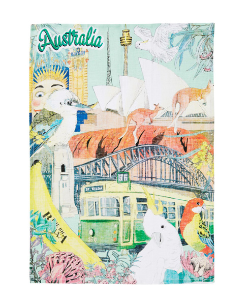 Australiana Linen Tea Towel, , Jewellery, Sunglasses, Rings, Necklaces, Bracelets, Free Shipping, For Sale Australia, Zinc Shop